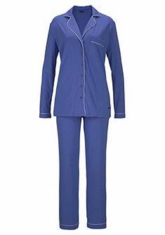 LASCANA Pyžama v klasickom tvare s golierom a légou na gombíky