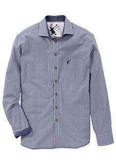 OS-Kostkovaná košile s knoflíky rohovinové vzhledu
