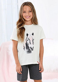 s.Oliver RED LABEL Bodywear lányka  rövid nadrágos pizsama lovas nyomásmintával