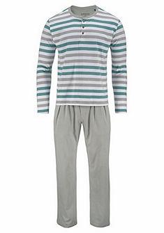 Schiesser pamut kereknyakú hosszú fazonú pizsama csíkos mintával