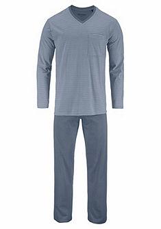 Schiesser hosszú pizsama V-nyakkivágással és mellzsebbel