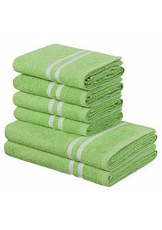 Souprava ručníků, my home »Freddy« s kontrastním pruhovaným lemem (6-díl. souprava)