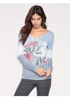 LINEA TESINI by heine Vzorovaný pulóver s kvetinovým motívom