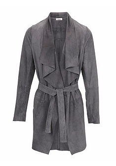 LINEA TESINI by heine Kožený kabát z velurové kůže s vázankou