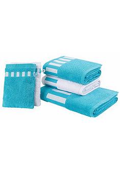 Souprava ručníků, my home »Melody« s pruhovaným lemem (5-díl. souprava)