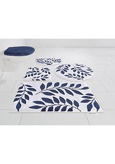 Fürdőszoba szőnyeg, GMK Home & Living, »Blue Leaves«, magasság 10 mm, Microfaser, csúszásmentes aljjal