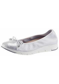 TINE'S bőr balerina cipő fémes hatással és díszítő masnival