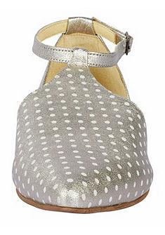 Heine hegyes orrú pöttyös balerina cipő fémes hatással