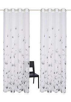 Záclona, GMK Home & Living »kreslené květiny« s očky (2 kusy)