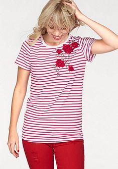 AJC kereknyakú póló vállán lyukacsos díszítéssel