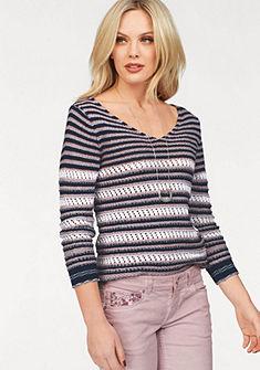 ZABAIONE kötött pulóver csíkos mintával és V-nyakkivágással »TRIXI«