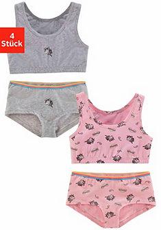 Arizona Dívčí krátký top + kalhotky (4-dílné) s potiskem