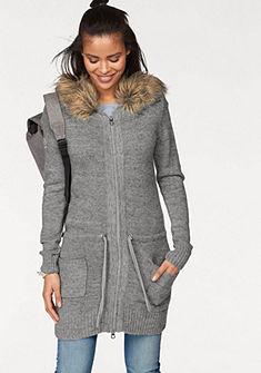 KangaROOS Pletený sveter s kapucňou, odopínateľná imitácia kožušiny