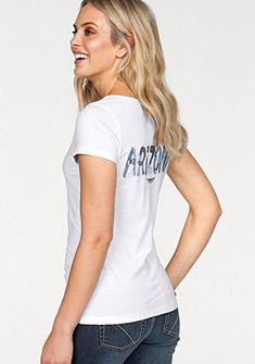 Arizona Tričko s výstrihom do V »akvarelová potlač loga vzadu«