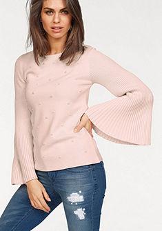 Laura Scott tölcsérujjú kötött  pulóver gyöngyökkel