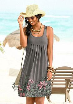 Beachtime ujjatlan strandruha rakott hatással és virágos aljjal