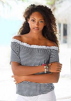 Beachtime Tričko v štýle Carmen (2 ks) s háčkovanou čipkou na výstrihu