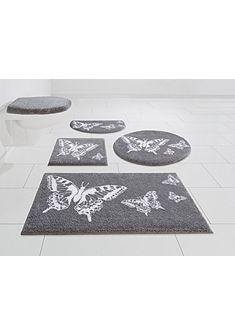 Kúpeľňová predložka, 3-diel. set, bez výrezu »Papillons« výška 20 mm, protišmyková úprava