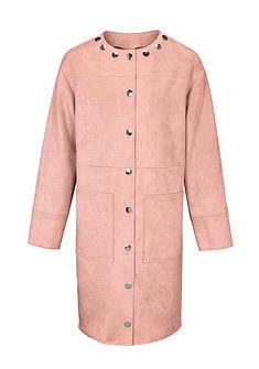 MODERN IDENTITY Koženkový kabát so skrytou gombíkovou légou