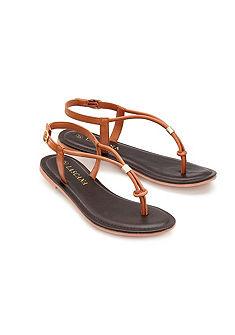 LASCANA Meziprstní sandály z kůže s dekorativním kamenem