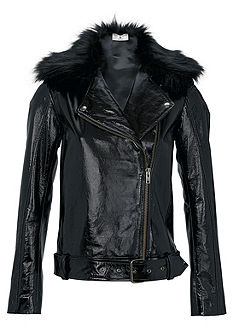 RICK CARDONA by heine Kožená bunda z lakovanej kože, s 2 umelými kožušinovými goliermi