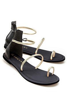 LASCANA Medziprstové sandále z kože s metálovými popruhmi