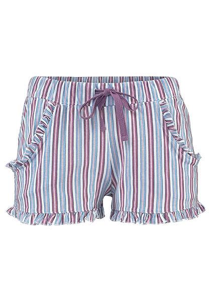 Kényelmes rövidnadrág, LASCANA, puha single dzsörzé anyagból, csíkos és kockás mintával