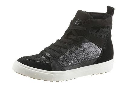 Tamaris fűzős magasszárú cipő fényes flitterekkel