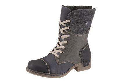 Rieker fűzős magasszárú cipő anyagkeverékből