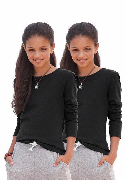 kidsworld hosszú ujjú póló kerek nyakkivágással (csomag, 2db), lányoknak