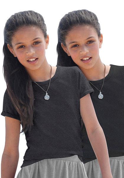 kidsworld póló kerek nyakkivágással (csomag, 2db), lányoknak