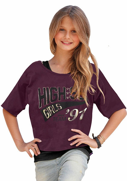 Buffalo póló & top , a póló elején nyomással (szett, 2 részes), lányoknak