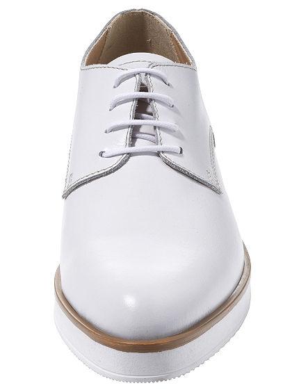 Fűzős nappabőr cipő alacsony tömbsarokkal és trendi, széles talppal