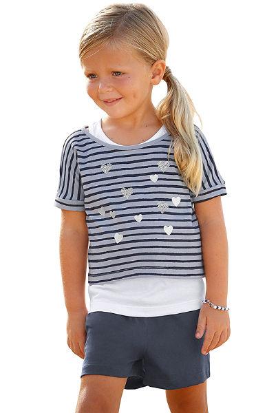 Kidoki póló & rövidnadrág (szett, 3 részes), lányoknak