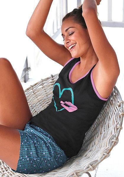 Rövidnadrágos pizsama, Vivance, pamut minőségben, világító színek kombinációja, ujjatlan top elején nyomásmintával