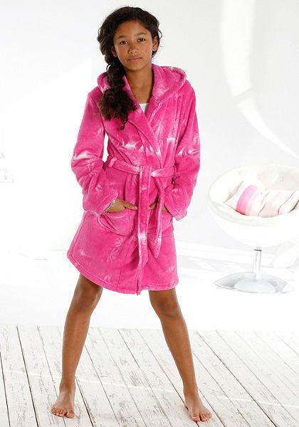 Puha fürdőköntös, Buffalo, divatos batikolt dizájn pink színben, oldalzsebekkel
