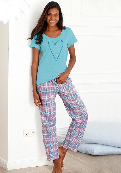 Pizsama, Petite Fleur, kockás nadrággal, pólója fodros ujjal
