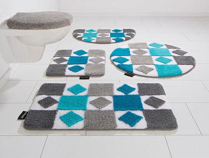 Koupelnový kobereček, 3-dílná souprava pro závěsné WC, Bruno Banani, »Radasta«, výška 20 mm, protiskluzová úprava