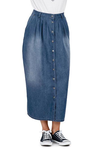 sheego Trend Dlhá džínsová sukňa