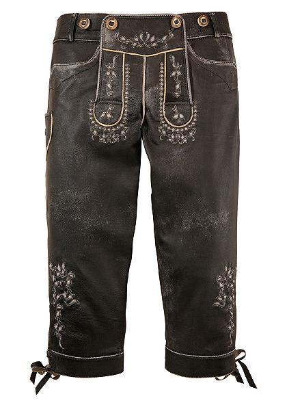 Dámské krojové kožené kalhoty v 3/4 délce s výšivkou, Marjo