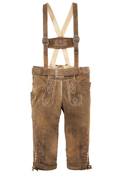 Krojové kožené 3/4 nohavice pánske s výšivkou, Marjo