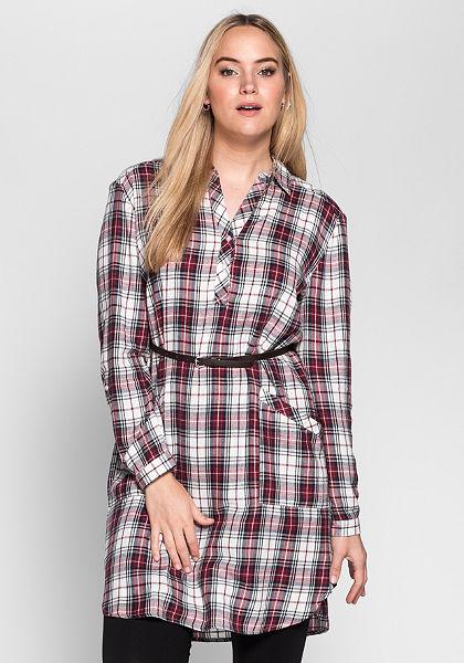 sheego Casual Košilové šaty s páskem