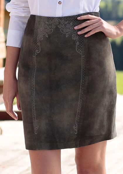 Spieth & Wensky Krojová kožená sukňa vo vyšúchanom vzhľade