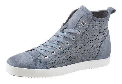 Tamaris magas szárú bőr sneaker cipő lézervágott mintával