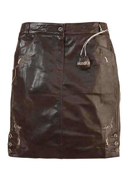 Mondkini Krojová kožená sukňa s tradičnou výšivkou