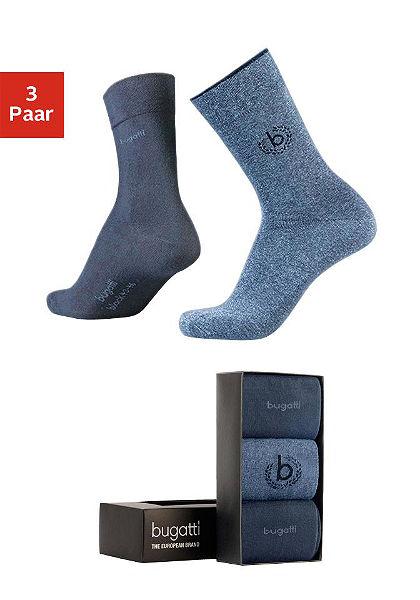 Kíváló minőségű üzleti és szabadidős zokni (3 pár), Bugatti, elegáns csomagolásban
