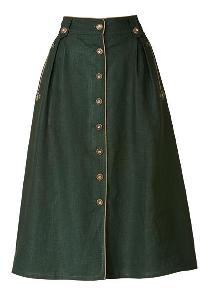 Luis Steindl Lněná skládaná sukně v lehce rozšířeném střihu