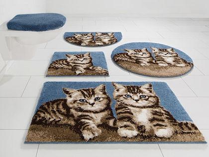 Fürdőszobaszőnyeg, kerek, »macska«, magasság 20 mm, csúszásgátló hátoldallal