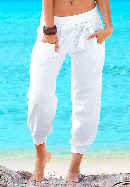 Buffalo London Plážové kalhoty, příjemná lněná směs