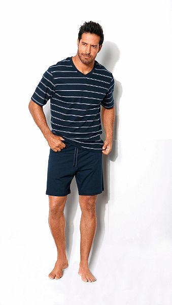 Schiesser Pyžamo krátké, tričko s výstřihem do V